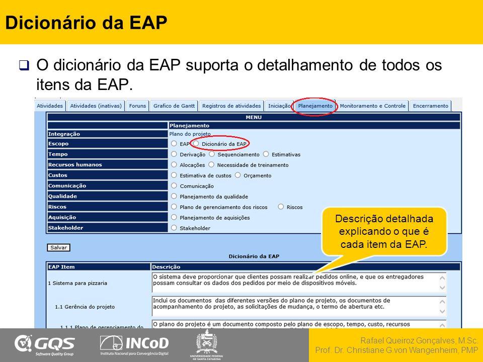 Descrição detalhada explicando o que é cada item da EAP.