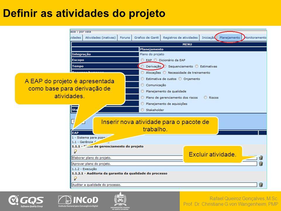 Definir as atividades do projeto