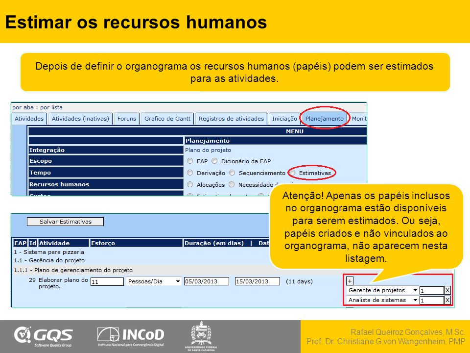 Estimar os recursos humanos