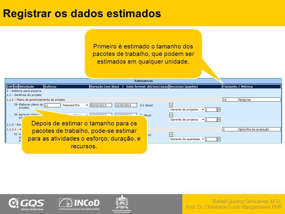 Registrar os dados estimados