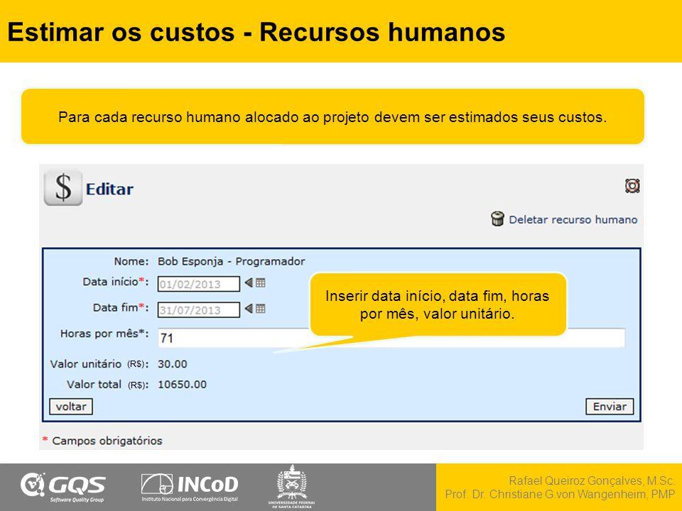 Estimar os custos - Recursos humanos