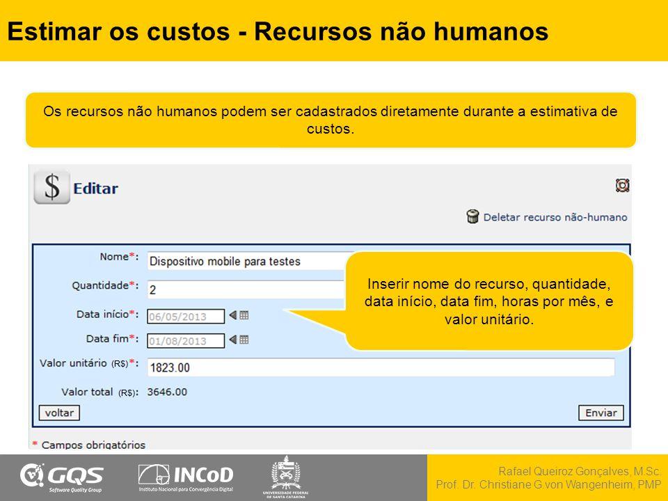 Estimar os custos - Recursos não humanos