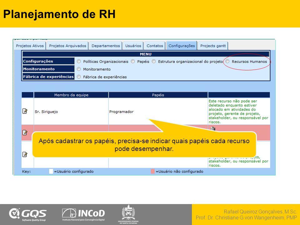 Planejamento de RH Após cadastrar os papéis, precisa-se indicar quais papéis cada recurso pode desempenhar.
