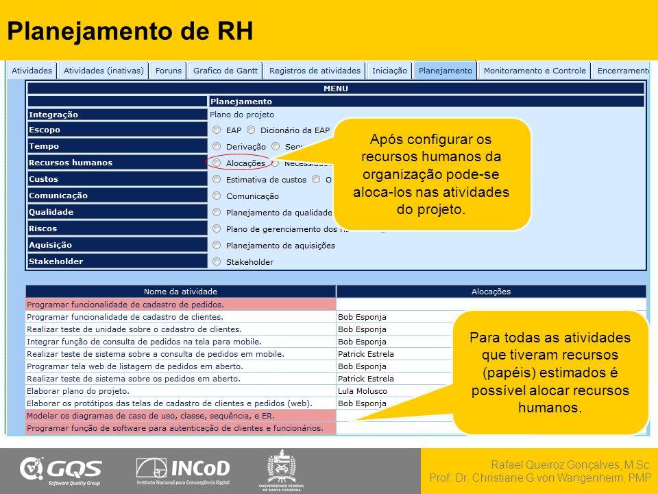 Planejamento de RH Após configurar os recursos humanos da organização pode-se aloca-los nas atividades do projeto.