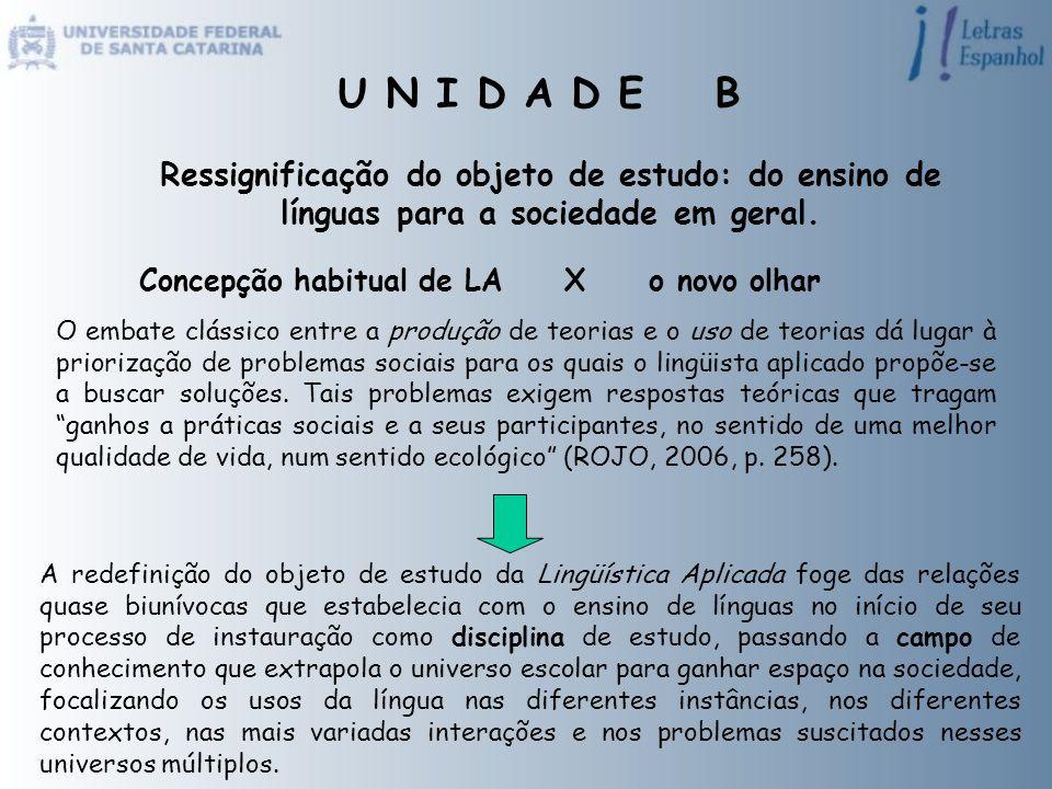 U N I D A D E B Ressignificação do objeto de estudo: do ensino de línguas para a sociedade em geral.