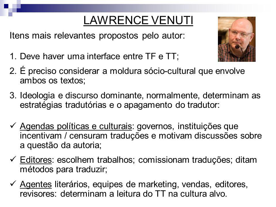 LAWRENCE VENUTI Itens mais relevantes propostos pelo autor:
