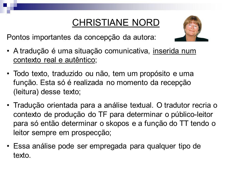 CHRISTIANE NORD Pontos importantes da concepção da autora: A tradução é uma situação comunicativa, inserida num contexto real e autêntico;