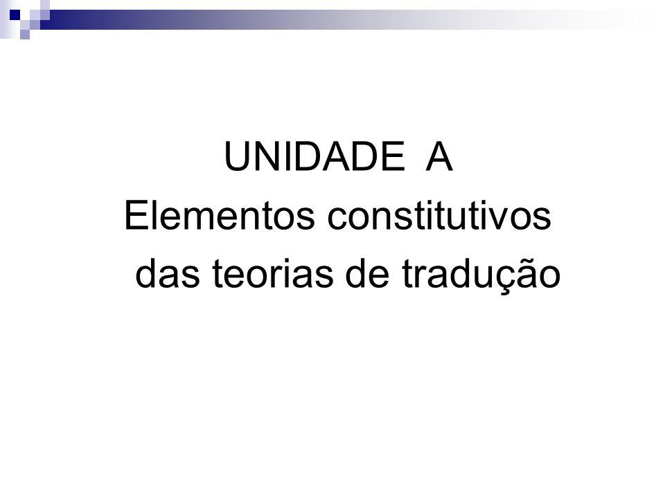 Elementos constitutivos das teorias de tradução