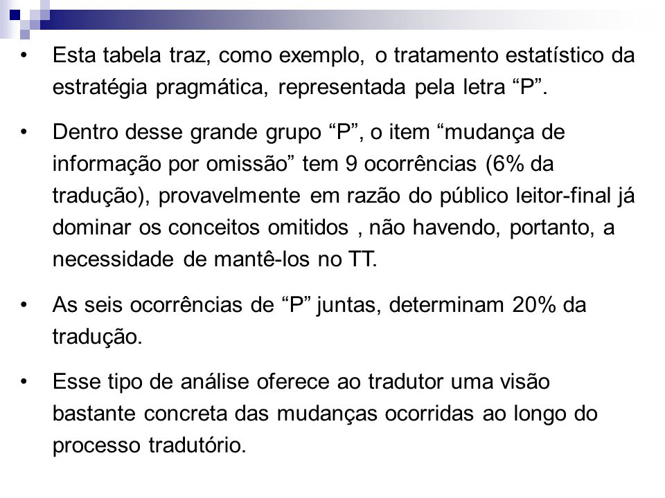 Esta tabela traz, como exemplo, o tratamento estatístico da estratégia pragmática, representada pela letra P .