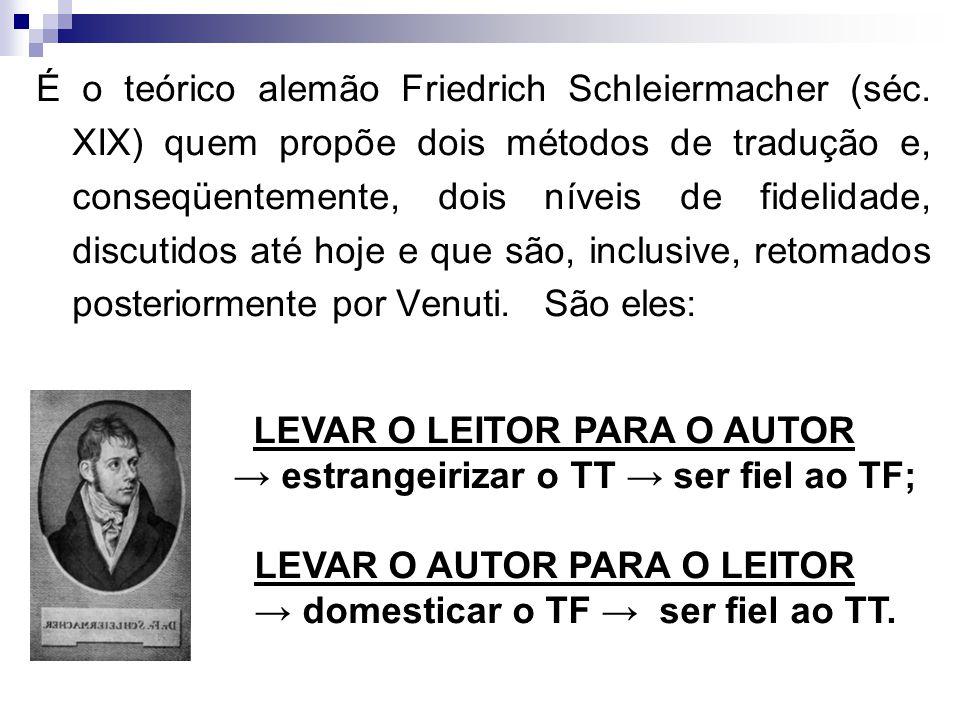 LEVAR O LEITOR PARA O AUTOR → estrangeirizar o TT → ser fiel ao TF;