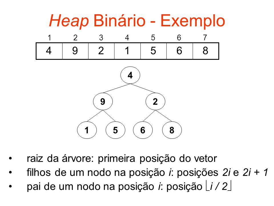 Heap Binário - Exemplo 1. 2. 3. 4. 5. 6. 7. 8. 6. 5. 1. 2. 9. 4. 4. 9. 2. 1. 5. 6.