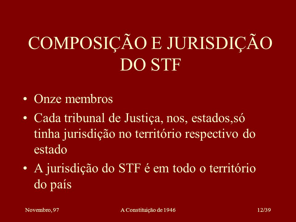 COMPOSIÇÃO E JURISDIÇÃO DO STF