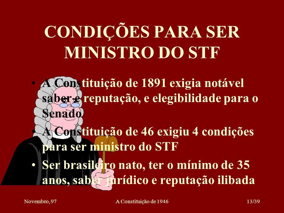 CONDIÇÕES PARA SER MINISTRO DO STF