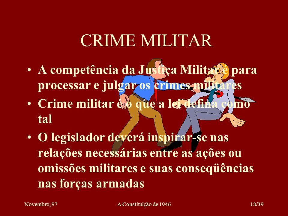 CRIME MILITAR A competência da Justiça Militar é para processar e julgar os crimes militares. Crime militar é o que a lei defina como tal.