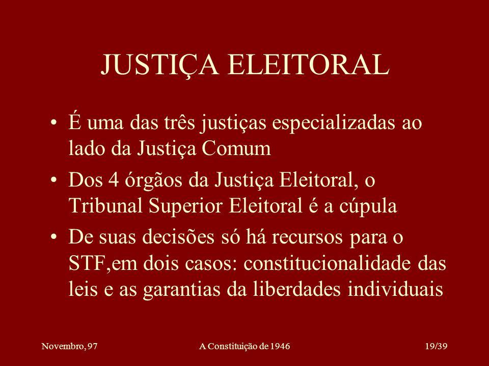 JUSTIÇA ELEITORAL É uma das três justiças especializadas ao lado da Justiça Comum.