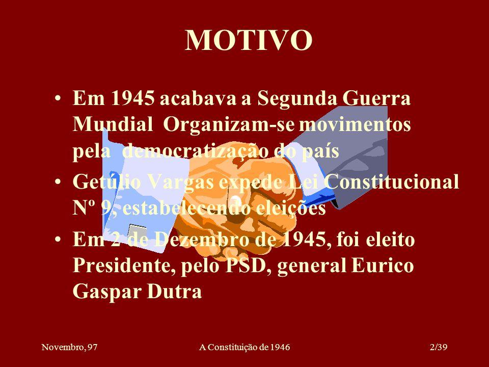 MOTIVO Em 1945 acabava a Segunda Guerra Mundial Organizam-se movimentos pela democratização do país.