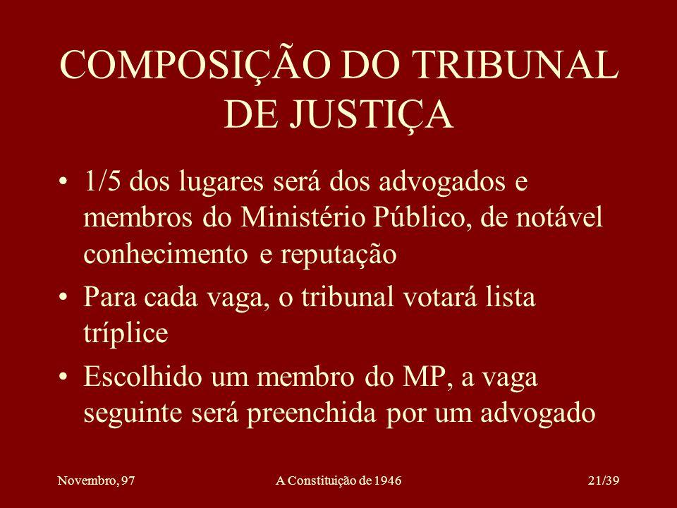 COMPOSIÇÃO DO TRIBUNAL DE JUSTIÇA