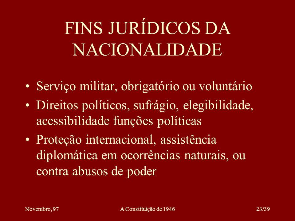 FINS JURÍDICOS DA NACIONALIDADE