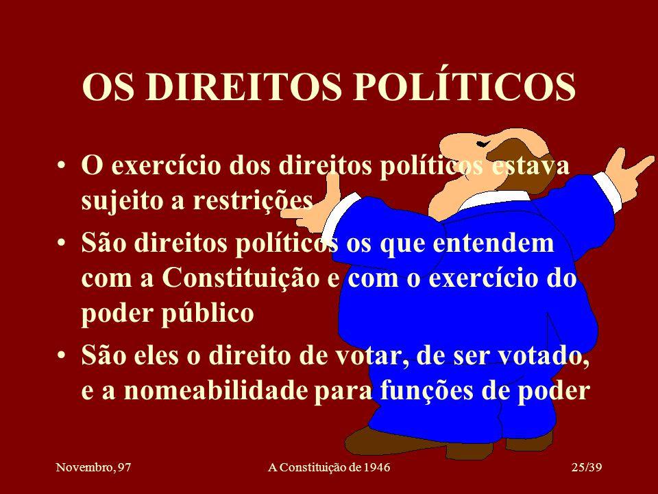 OS DIREITOS POLÍTICOS O exercício dos direitos políticos estava sujeito a restrições.