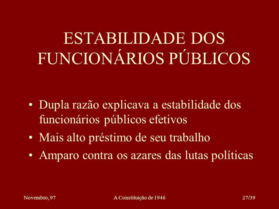 ESTABILIDADE DOS FUNCIONÁRIOS PÚBLICOS