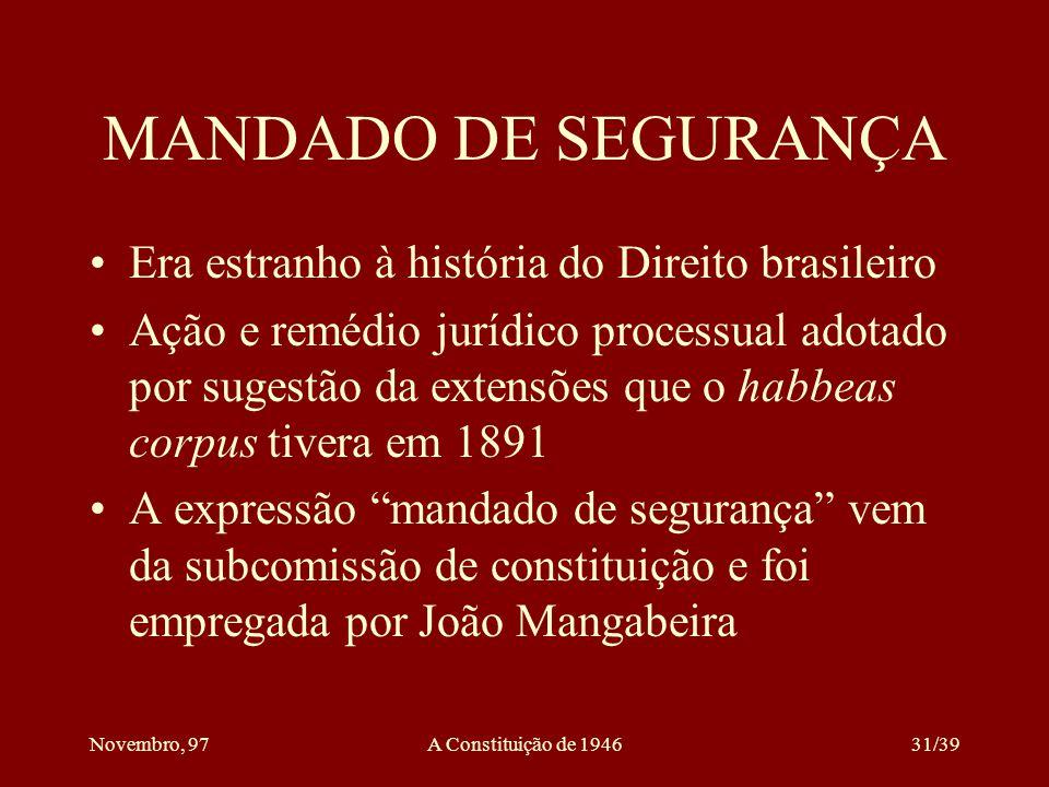 MANDADO DE SEGURANÇA Era estranho à história do Direito brasileiro