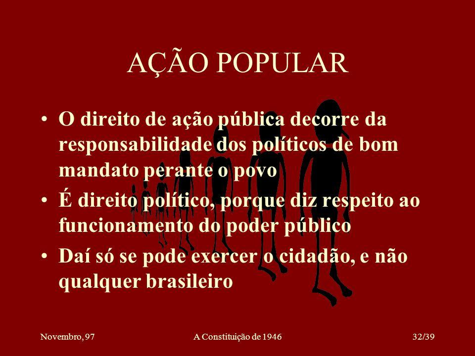 AÇÃO POPULAR O direito de ação pública decorre da responsabilidade dos políticos de bom mandato perante o povo.