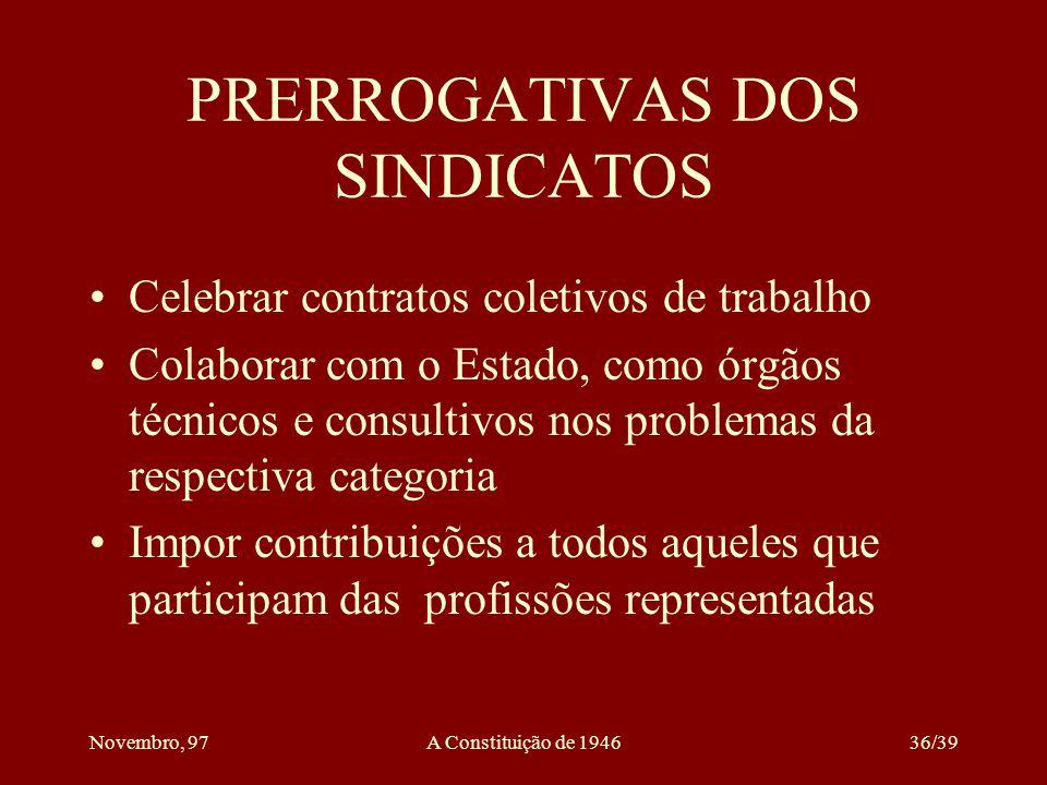 PRERROGATIVAS DOS SINDICATOS