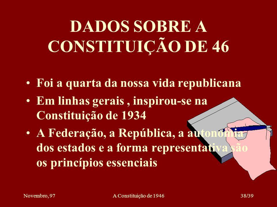 DADOS SOBRE A CONSTITUIÇÃO DE 46