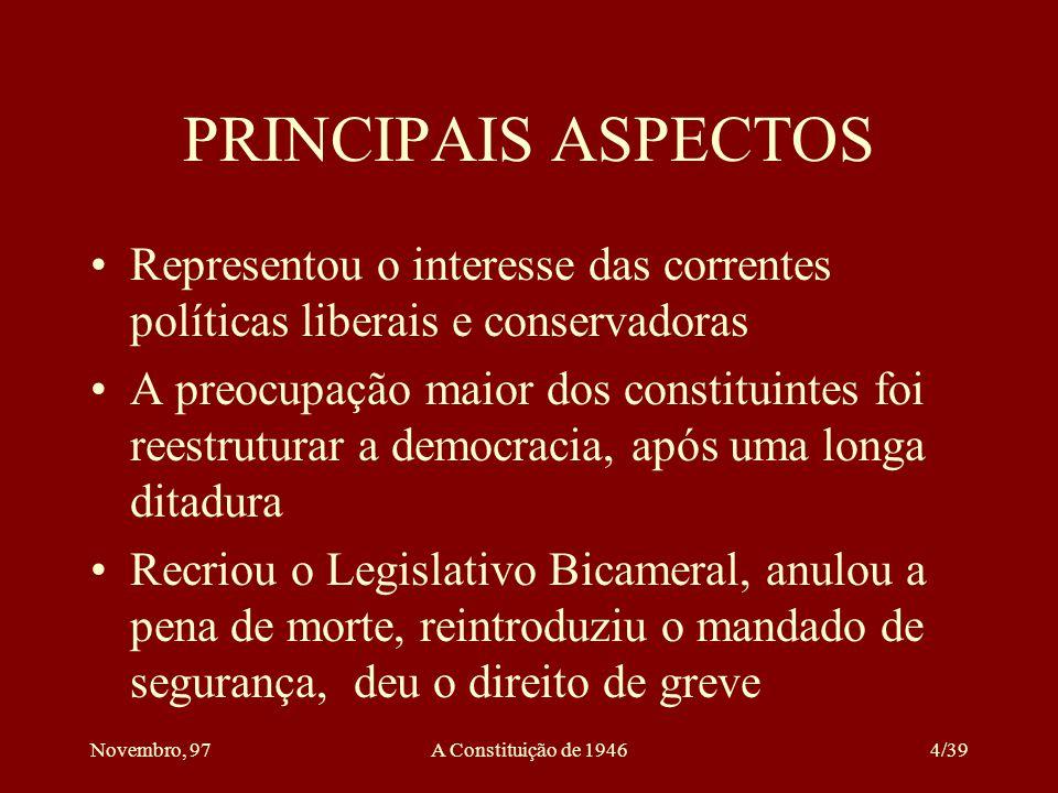 PRINCIPAIS ASPECTOS Representou o interesse das correntes políticas liberais e conservadoras.