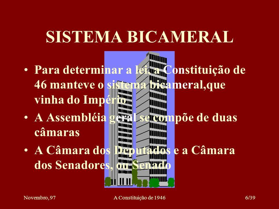 SISTEMA BICAMERAL Para determinar a lei, a Constituição de 46 manteve o sistema bicameral,que vinha do Império.