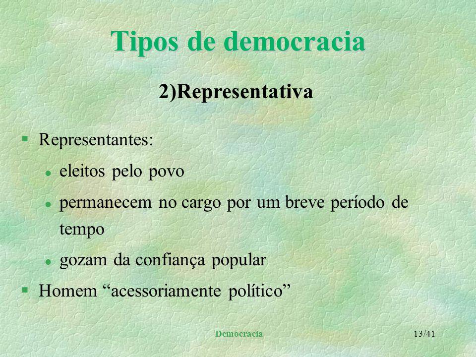 Tipos de democracia 2)Representativa Representantes: eleitos pelo povo