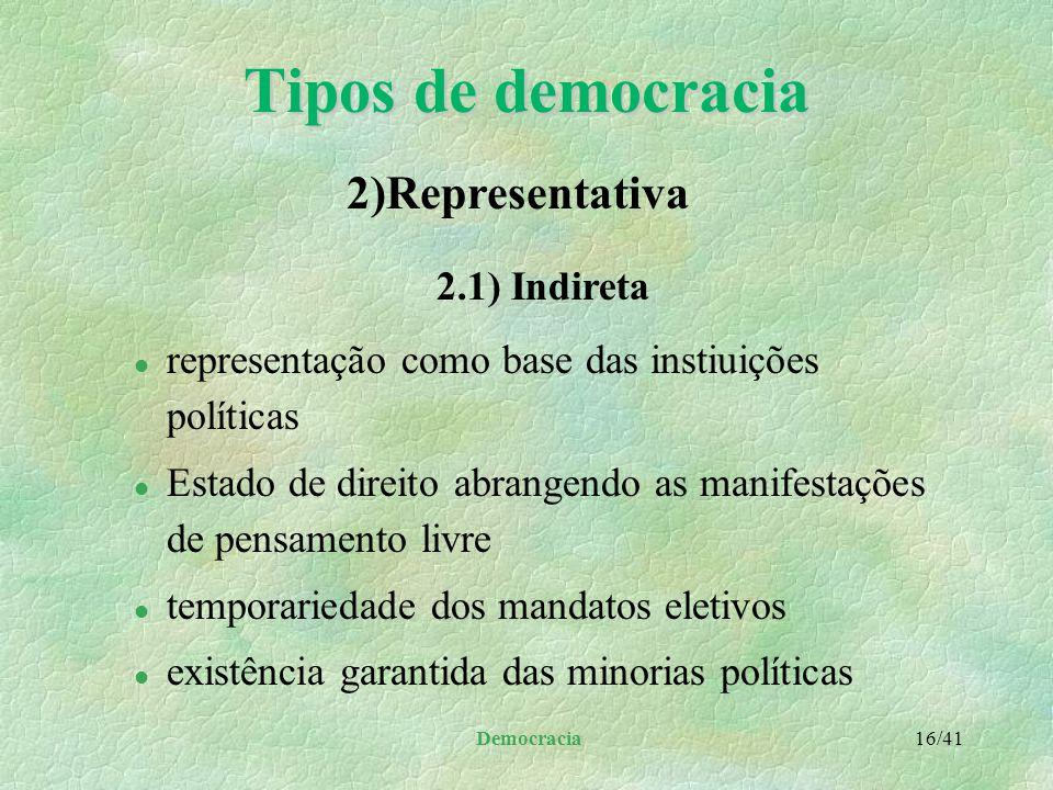 Tipos de democracia 2)Representativa 2.1) Indireta