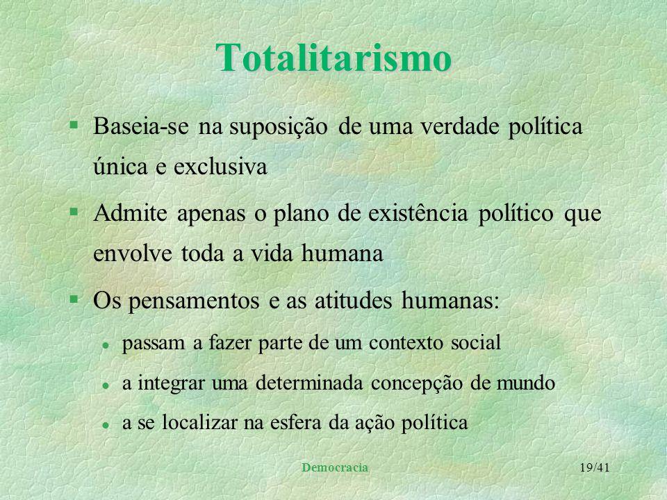 Totalitarismo Baseia-se na suposição de uma verdade política única e exclusiva.