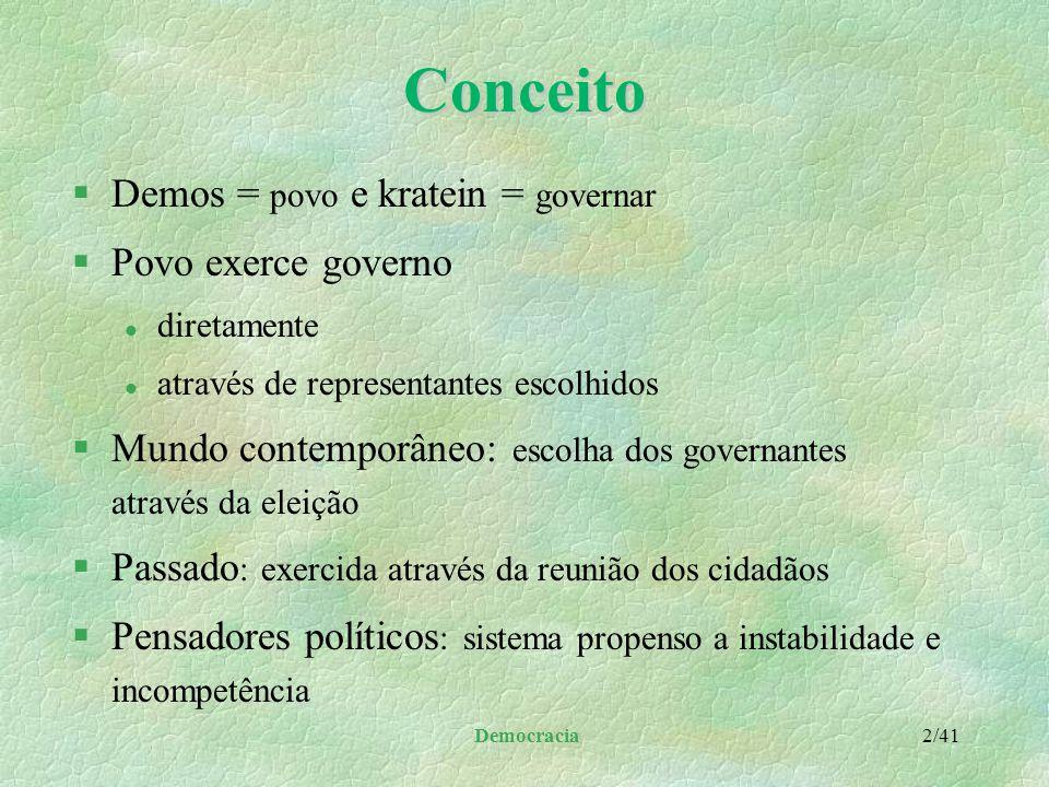 Conceito Demos = povo e kratein = governar Povo exerce governo