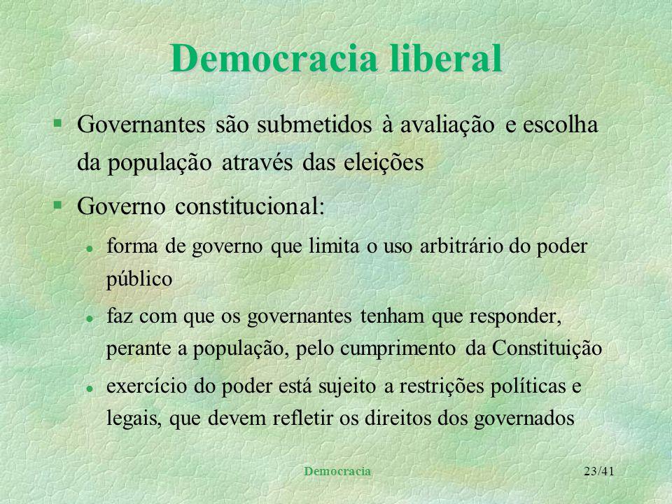 Democracia liberal Governantes são submetidos à avaliação e escolha da população através das eleições.