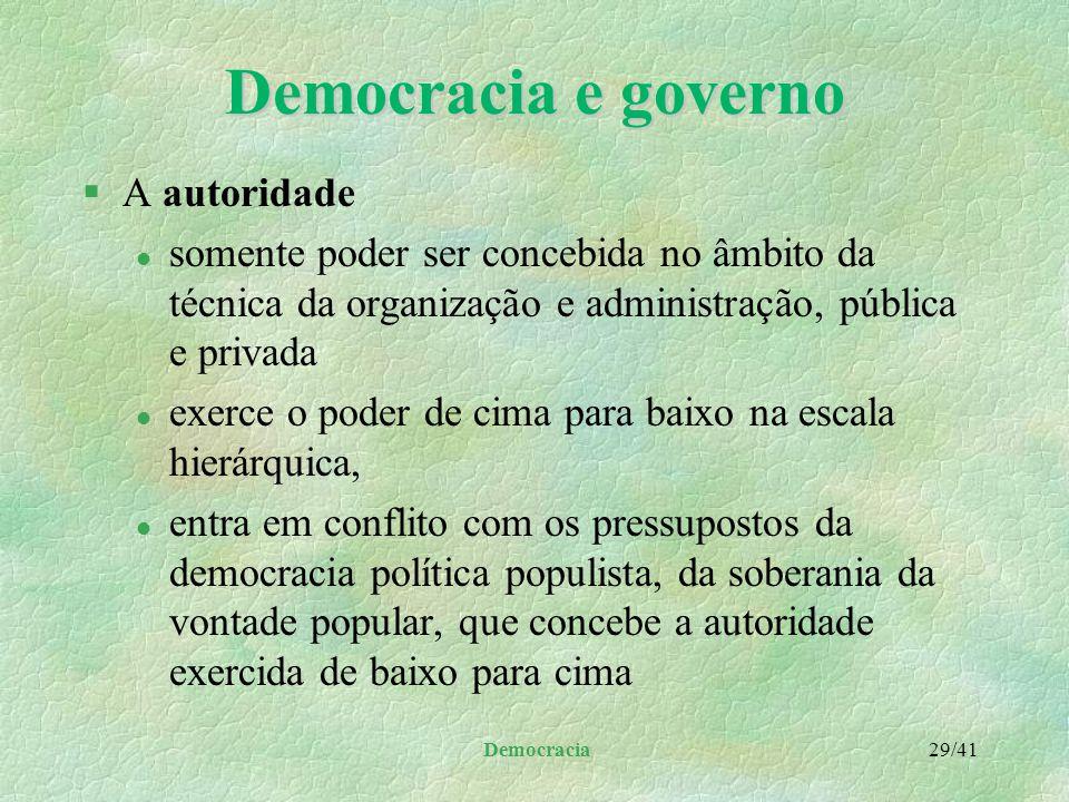 Democracia e governo A autoridade