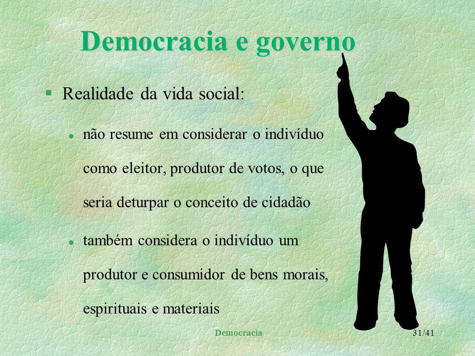 Democracia e governo Realidade da vida social: