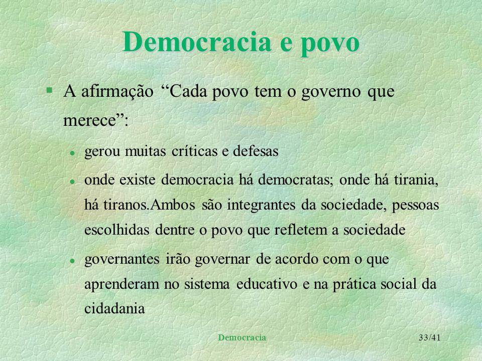Democracia e povo A afirmação Cada povo tem o governo que merece :