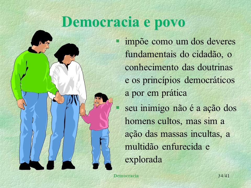 Democracia e povo impõe como um dos deveres fundamentais do cidadão, o conhecimento das doutrinas e os princípios democráticos a por em prática.
