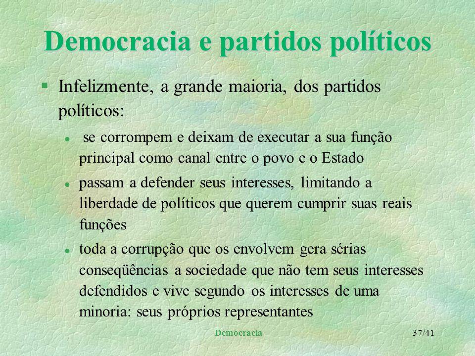 Democracia e partidos políticos