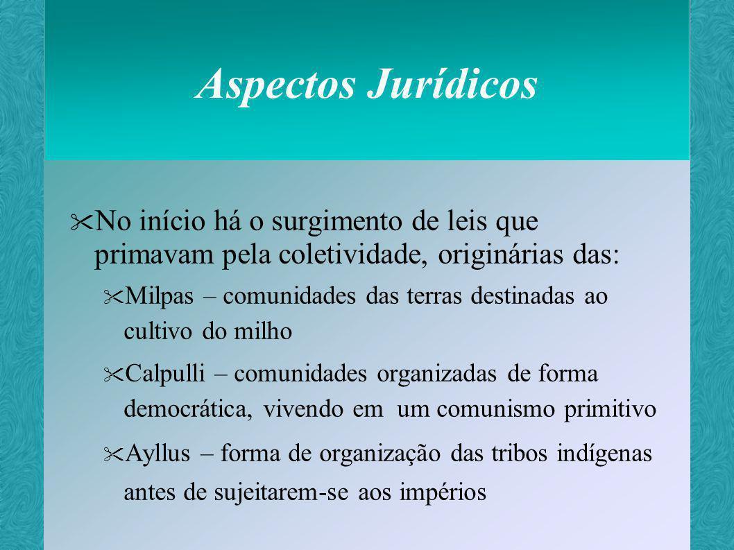 Aspectos Jurídicos No início há o surgimento de leis que primavam pela coletividade, originárias das: