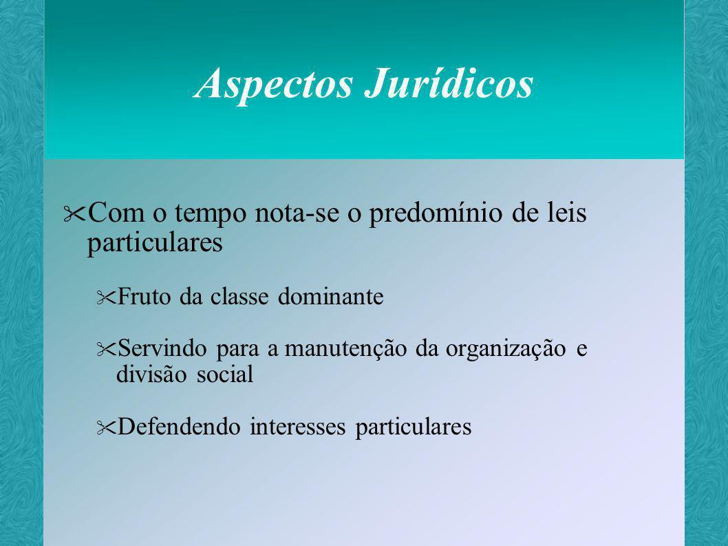 Aspectos Jurídicos Com o tempo nota-se o predomínio de leis particulares. Fruto da classe dominante.