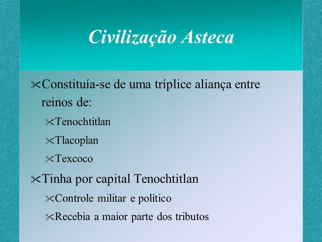 Civilização Asteca Constituía-se de uma tríplice aliança entre reinos de: Tenochtitlan. Tlacoplan.