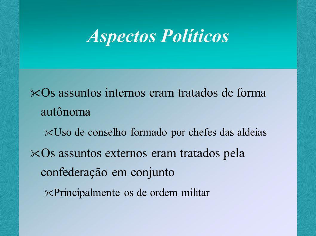 Aspectos Políticos Os assuntos internos eram tratados de forma autônoma. Uso de conselho formado por chefes das aldeias.