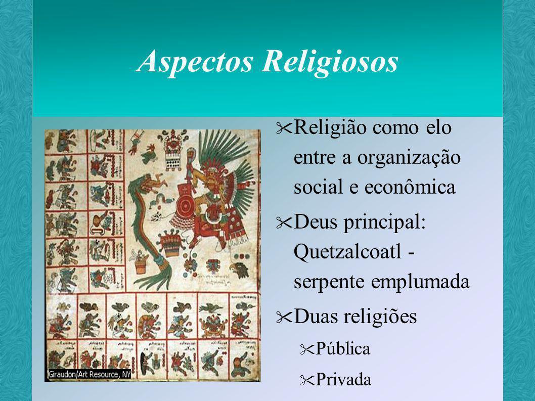 Aspectos Religiosos Religião como elo entre a organização social e econômica. Deus principal: Quetzalcoatl - serpente emplumada.