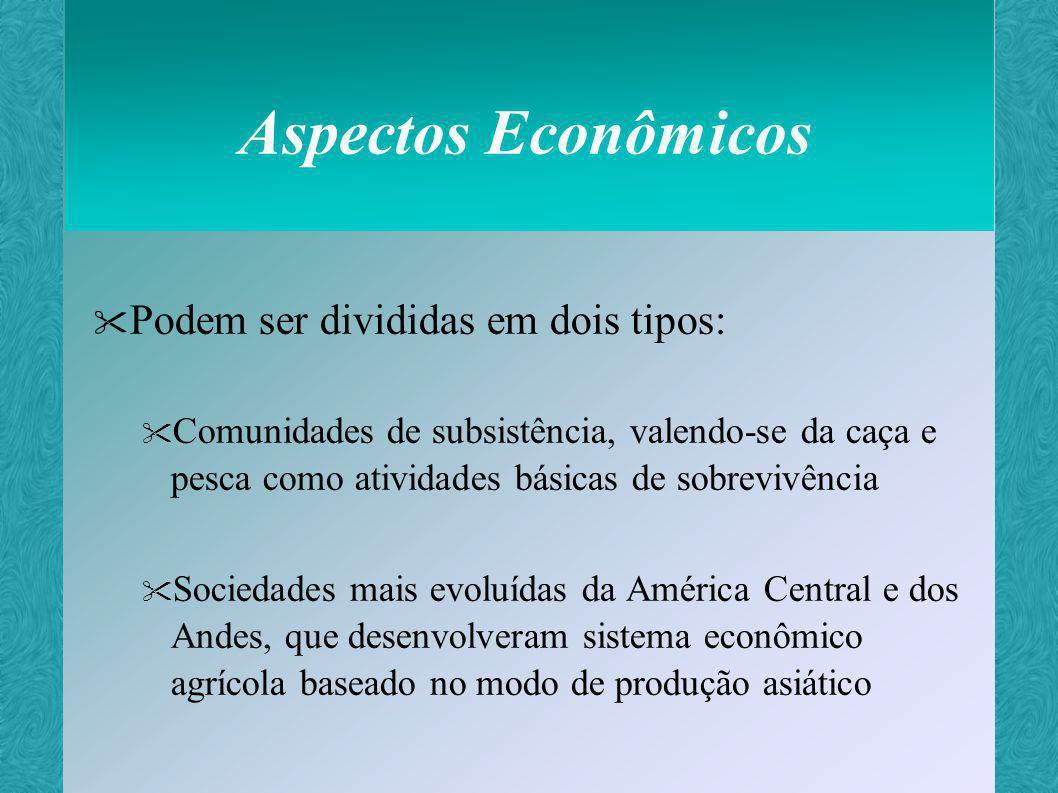 Aspectos Econômicos Podem ser divididas em dois tipos: