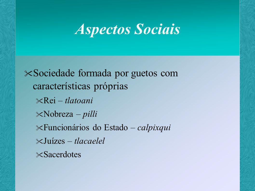Aspectos Sociais Sociedade formada por guetos com características próprias. Rei – tlatoani. Nobreza – pilli.
