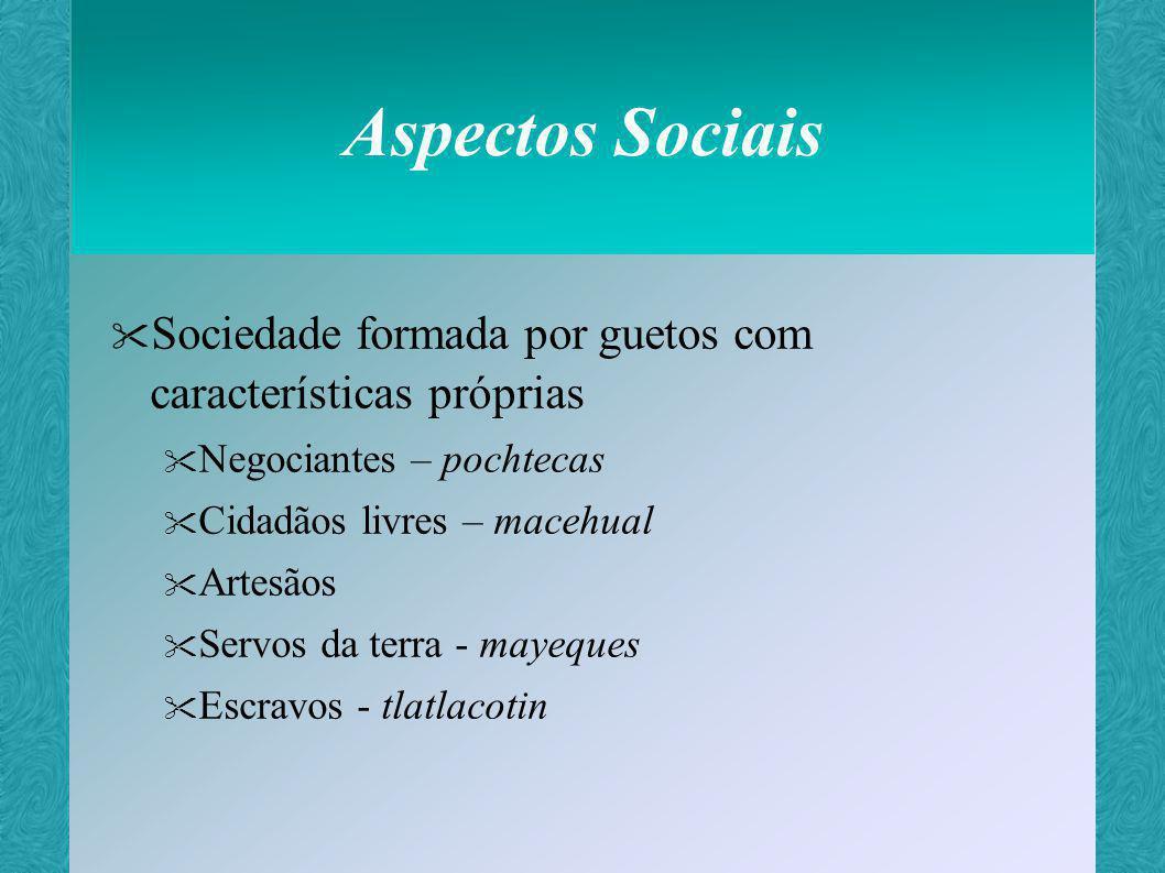 Aspectos Sociais Sociedade formada por guetos com características próprias. Negociantes – pochtecas.