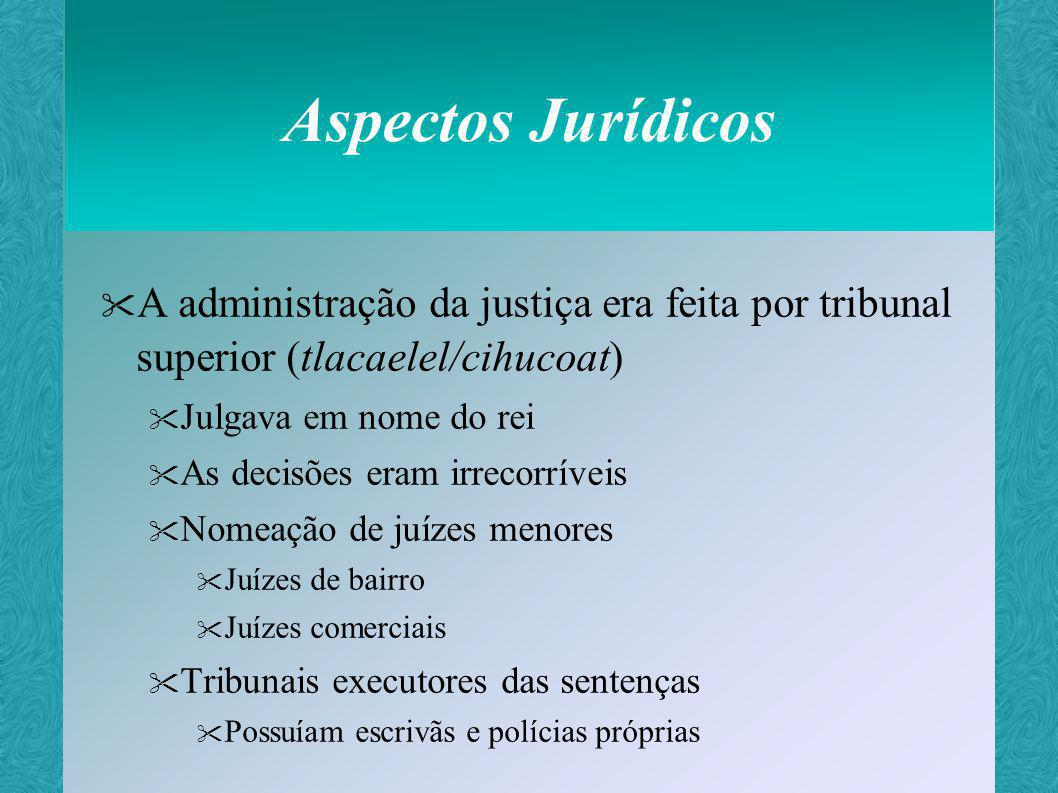 Aspectos Jurídicos A administração da justiça era feita por tribunal superior (tlacaelel/cihucoat) Julgava em nome do rei.