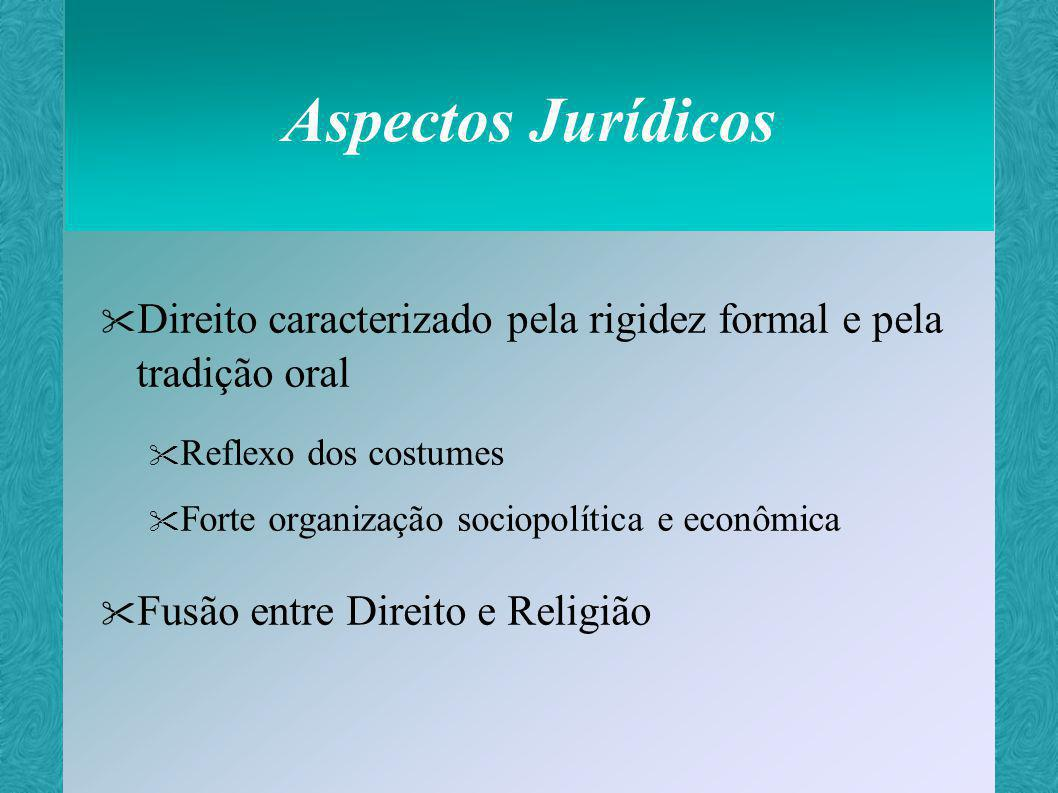Aspectos Jurídicos Direito caracterizado pela rigidez formal e pela tradição oral. Reflexo dos costumes.